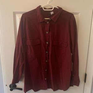 Maroon Divided long sleeved button up